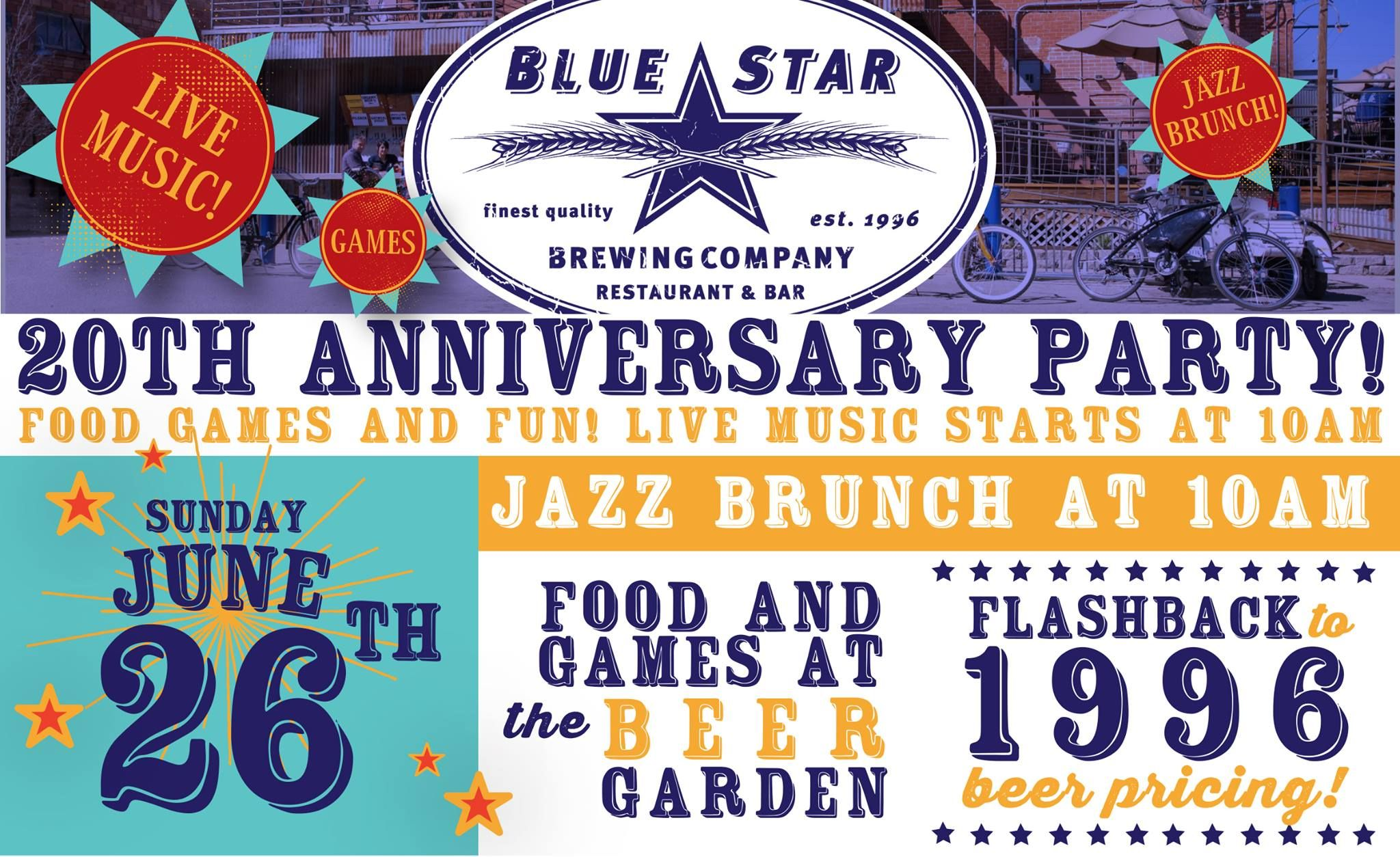 Come Celebrate Blue Star Brewing Company S 20th Anniversary This Sunday June 26th Party Starts 10am Blue Star Brewing Co Brewing