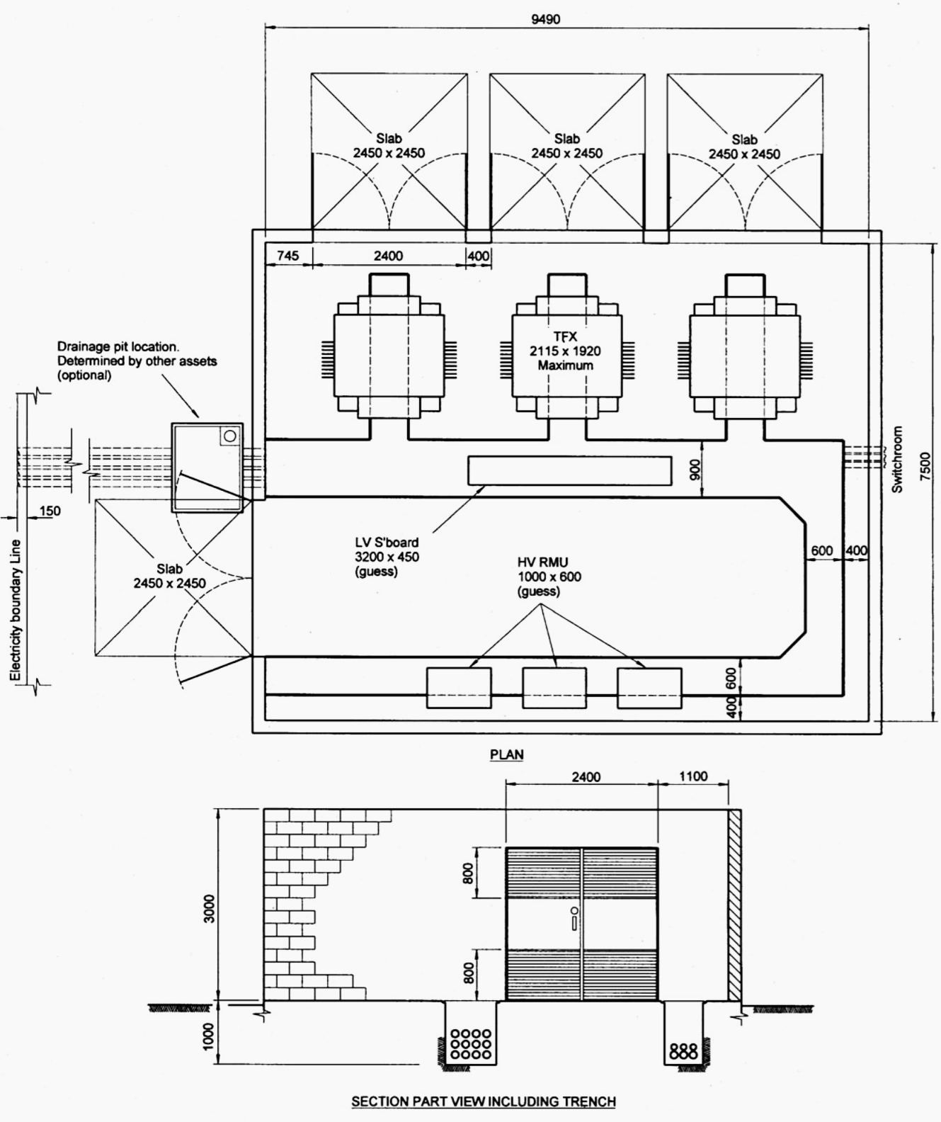 indoor distribution substation layout with 3 transformers emf containment and more than 1 external wall [ 1329 x 1584 Pixel ]