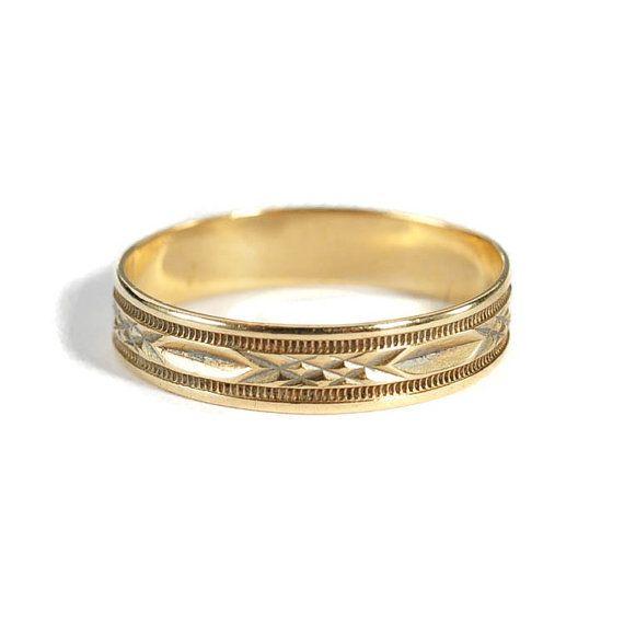 Art Deco Ring 10K Gold Mens Wedding Band Ring Engraved by boylerpf