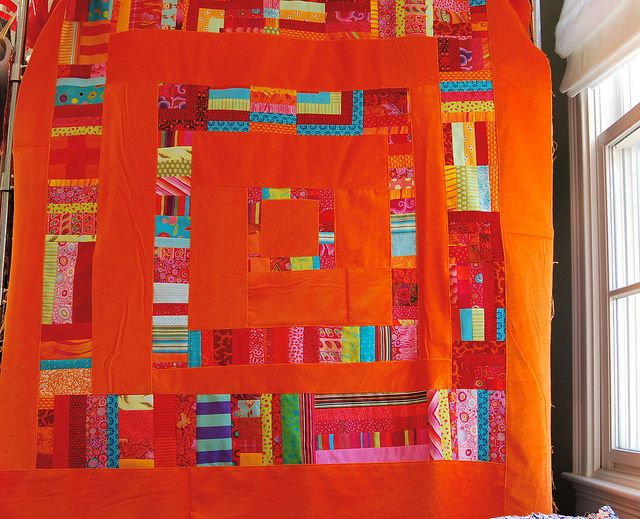 Velvet quilt by drury girl, via Flickr  WOW orange velvet, Love it!