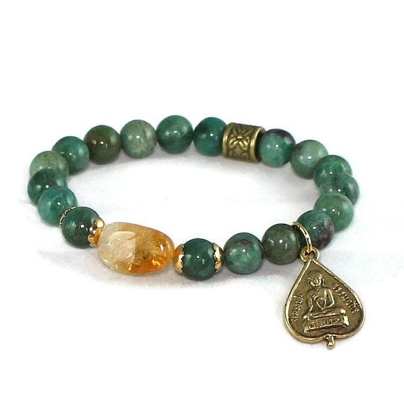 Buddha Citrine and African Jade Gemstone Bracelet by LarisJewelryDesigns #etsymnttig #etsymnttgfher #etsymnttgfn #etsymnttbgt #etsymnttgbp