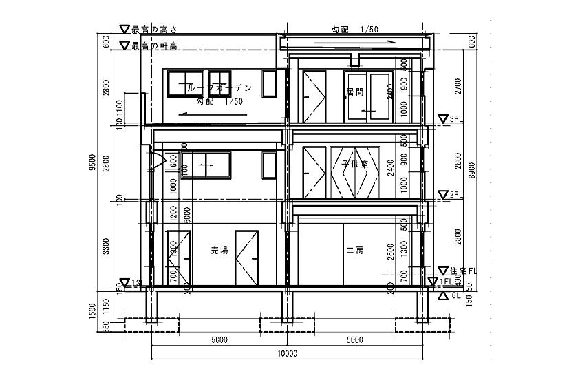 Rc造3階建て断面図の作成 まず 壁芯 gl 1fl 2fl 3fl