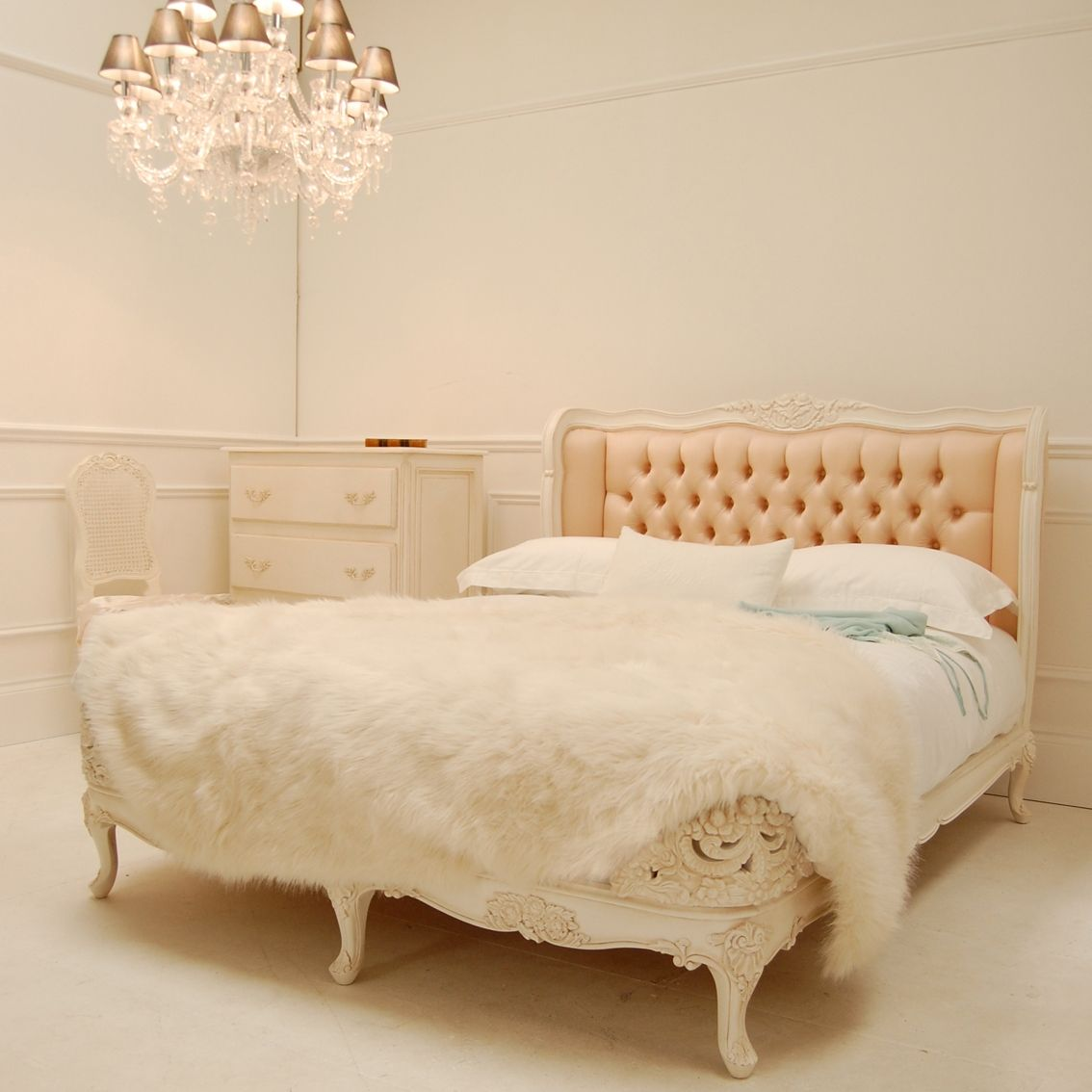 Classical White Rose Blush French Bed