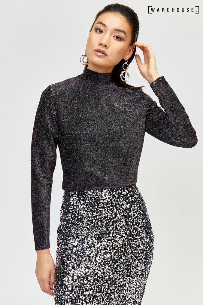 Warehouse Womens Diagonal Glitter Velvet Dress