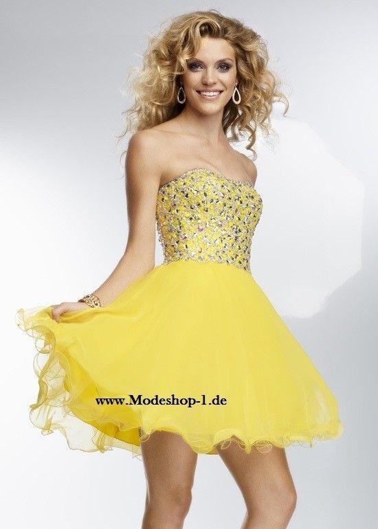 Trägerloses Gelbes Party Kleid Cocktailkleid 2019   Gelbe ...