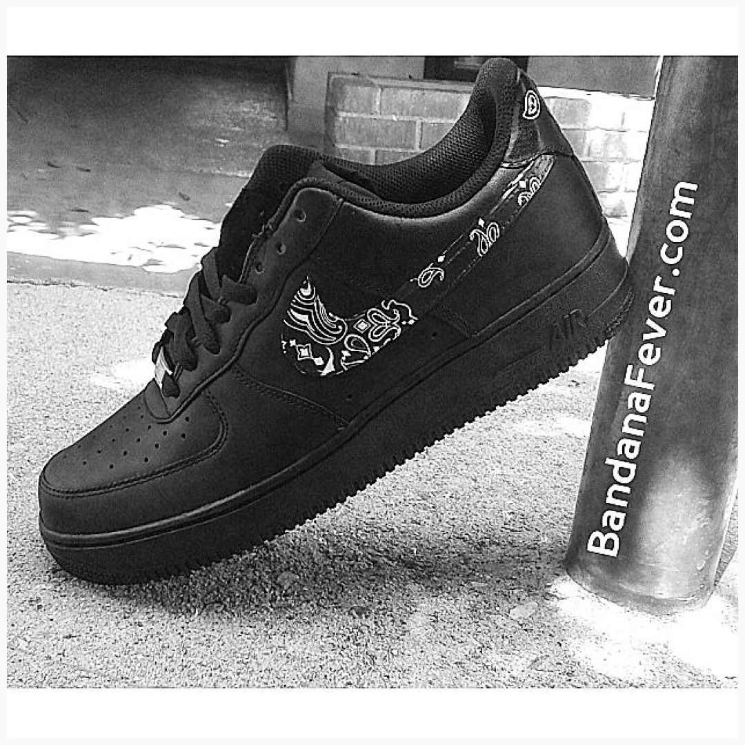 Custom Nike Air Force 1 Low Shoes Black Black Bandana