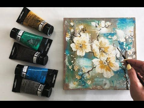How To Draw Easy Flowers Painting Demonstration Acrylic