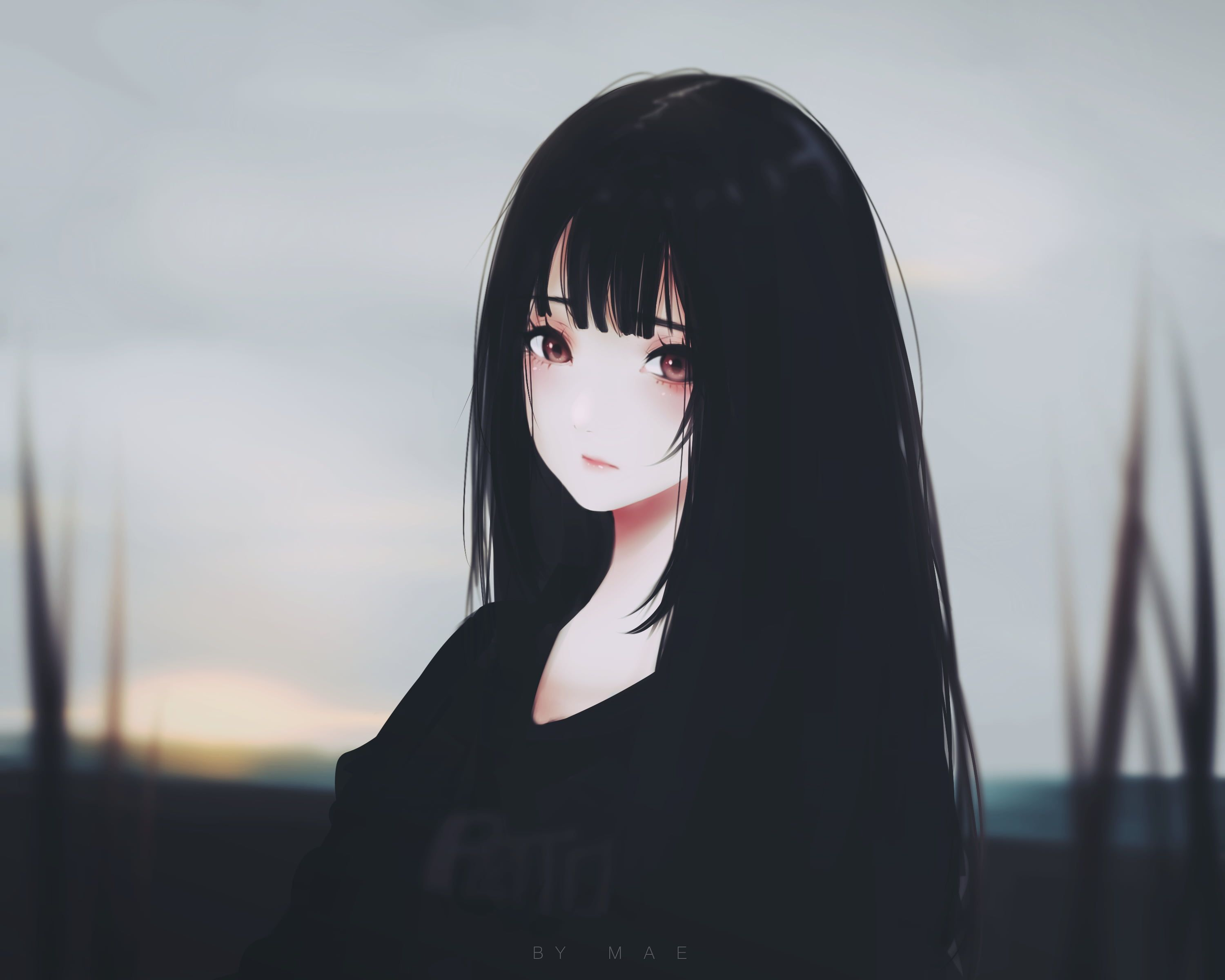Black Haired Female Character Anime Anime Girls Original Characters Kyrie Meii Brunette Red Eyes Dark Hair Artwork 2k Wall In 2020 Anime Art Girl Dark Anime Anime