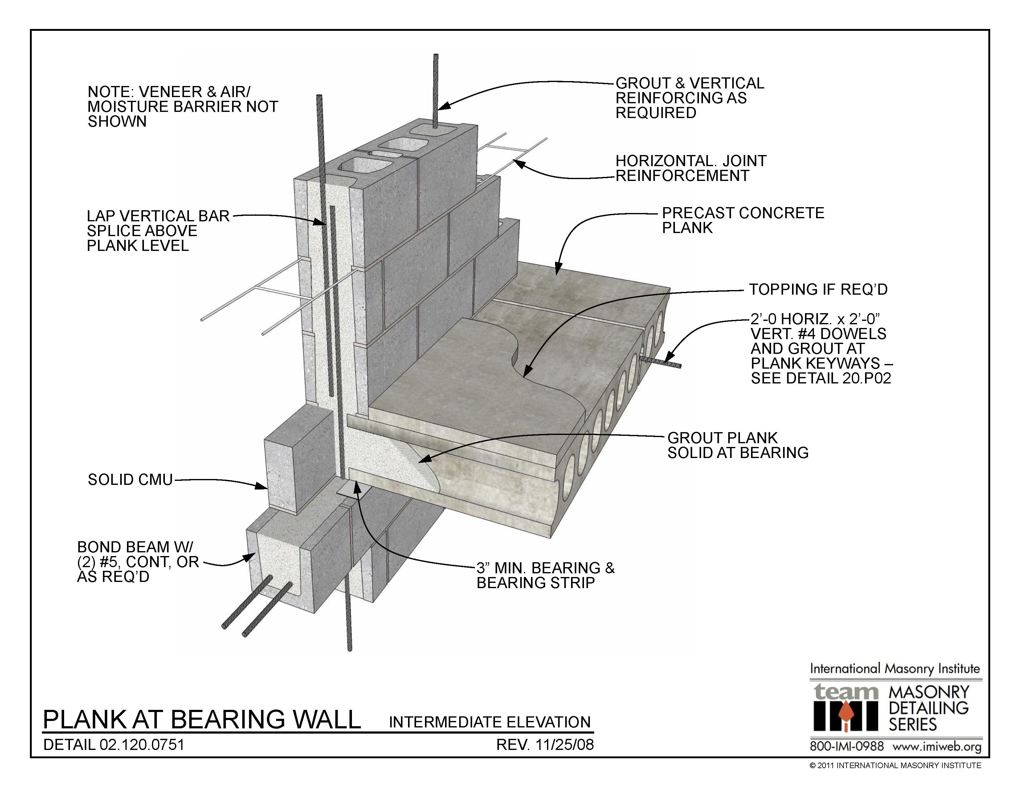 02 120 0751 Plank At Bearing Wall Intermediate Elevation International Masonry Institute Brick Construction Precast Concrete Masonry