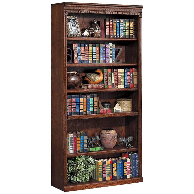 Madras 78 High Charred Oak Wood Bookcase 39c08 Lamps Plus