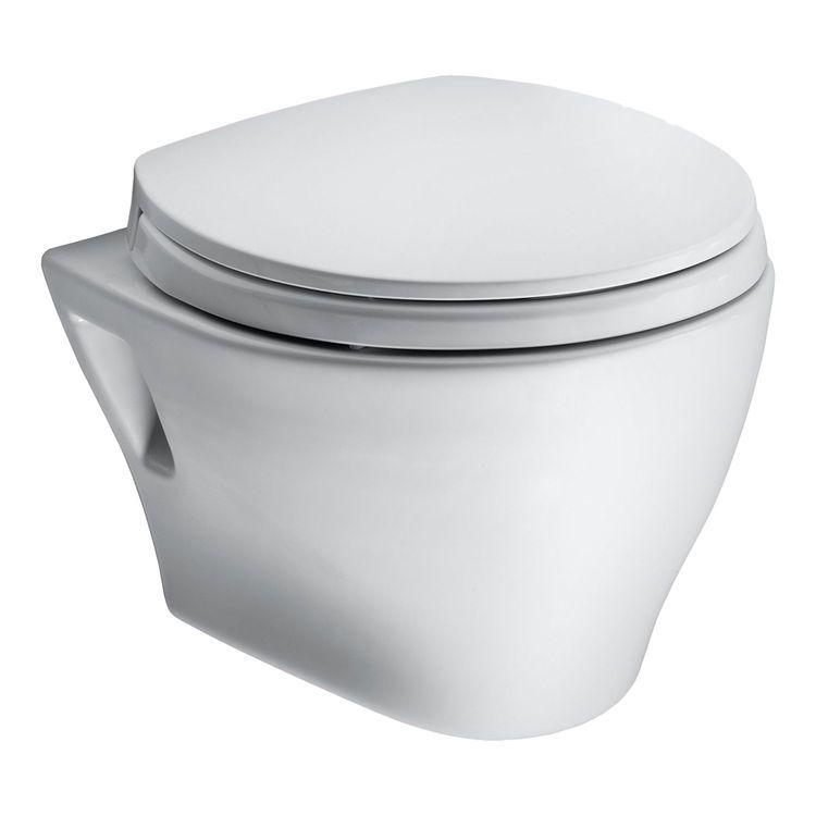 Toto Ct418f 01 Aquia Wall Hung Dual Flush Toilet 1 6gpf 0 9gpf In Cotton White Plumbersstock Wall Hung Toilet Wall Mounted Toilet Toilet Bowl
