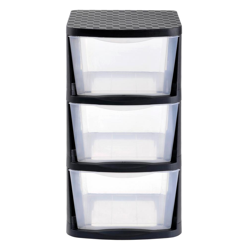 Muscle Rack 3 Drawer Clear Plastic Storage Tower With Black Frame Pdt3 The Home Depot In 2020 Plastic Storage Bins Plastic Drawers Plastic Storage