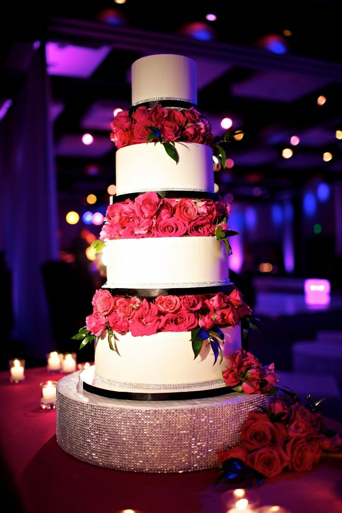 Hot pink and black wedding cake by Sweet Cheeks Baking Company ...
