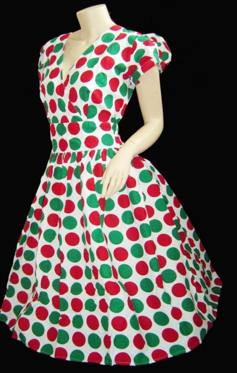 Vintage 50s CHRISTMAS Party Pin Up Play Costume XL Bridesmaid Dress