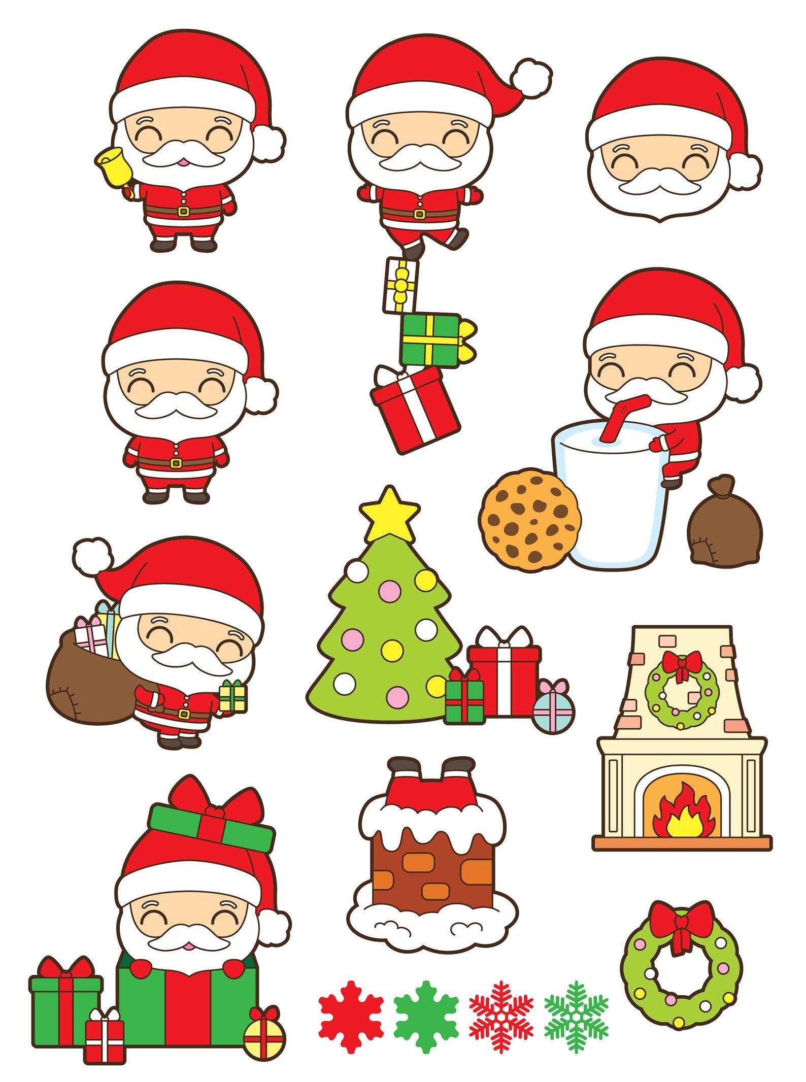Santa Claus Clipart Christmas Clipart Kawaii Christmas Clipart Santa Chimney Clipart Santa Milk And Cookies Clipart Santa Gift Clipart Dibujo De Navidad Tarjetas A Mano De Cumpleaños Hacer Adornos De Navidad