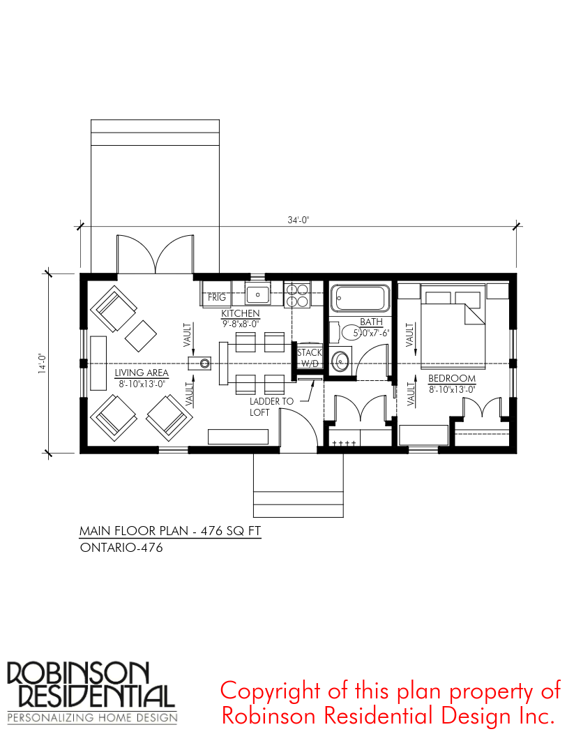 476 Sq Ft Ontario Tiny House Plan Tiny House Plan Tiny House Plans House Plans