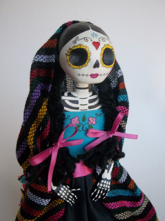 paper mache catrina  dia de los muertos  day of the dead paper mache mexican doll