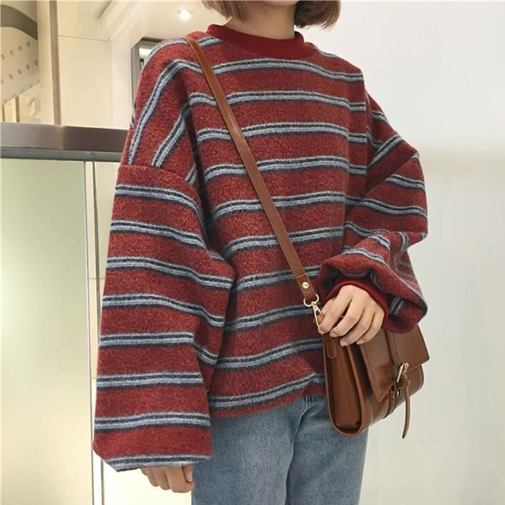 Photo of VINTAGE RETRO WOOL KNIT STRIPES OVERSIZED O-NECK SWEATERS