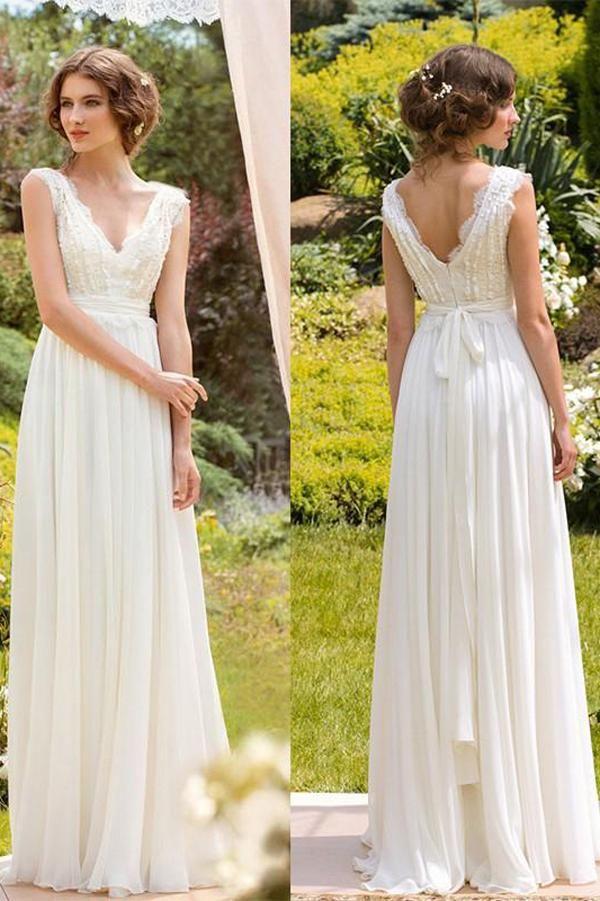 White Simple V Neck Floor Length Chiffon Lace Wedding