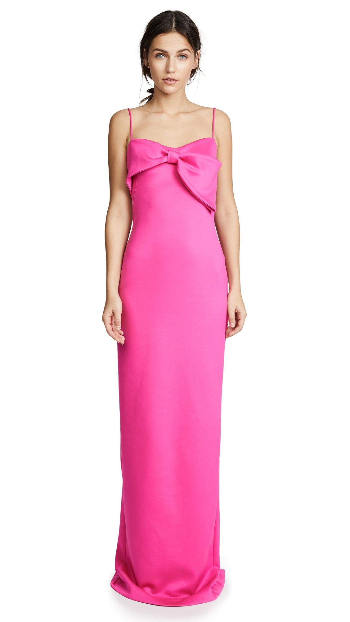 Monroe Sleeveless Column Gown W/ Bow Detail, Iconic Pink | Black ...