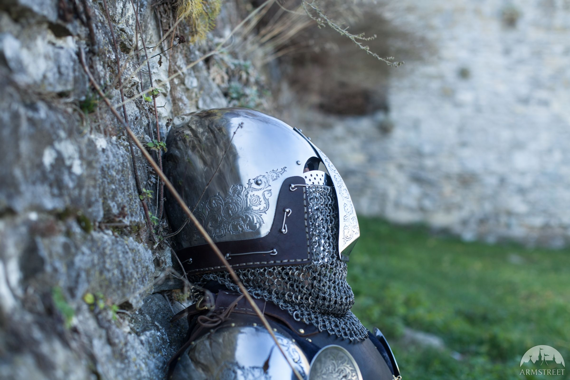 """Bascinet Helmet with Nasal Plate """"Knight of Fortune"""