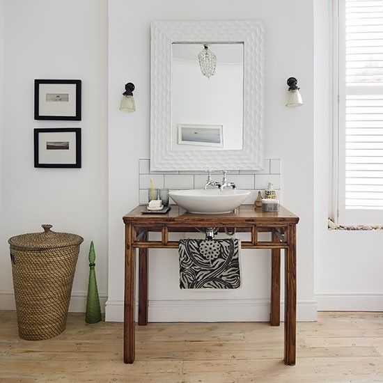 White Bathroom With Wooden Washstand