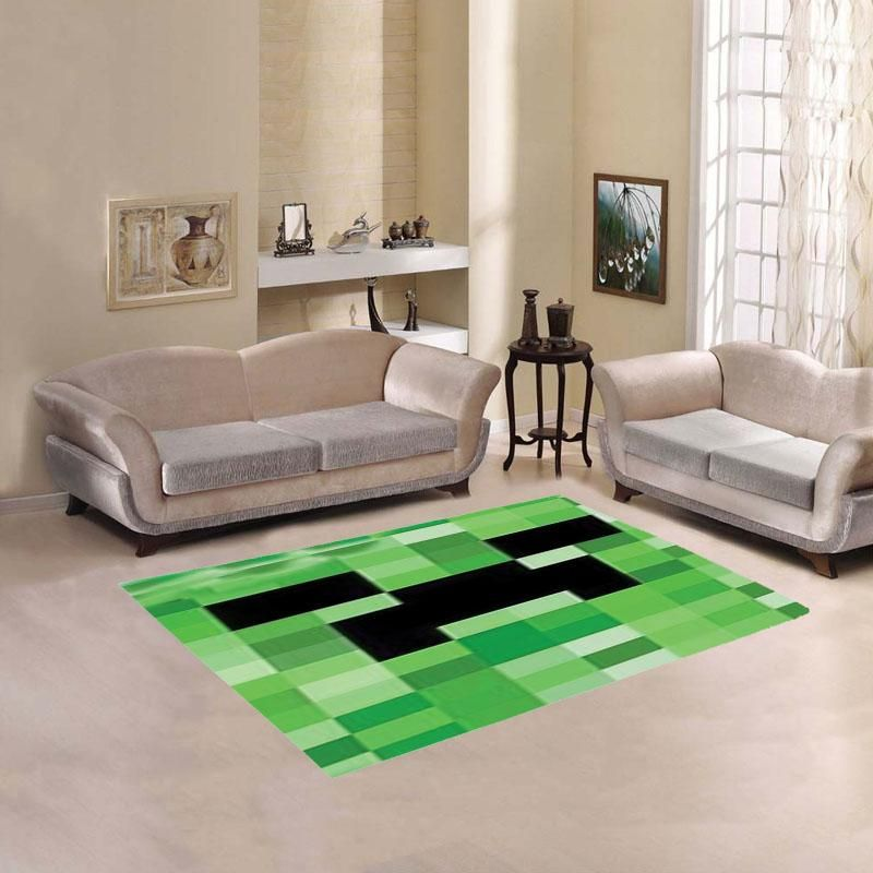 Minecraft Creeper Video Game Living Room Carpet Rug Compliment