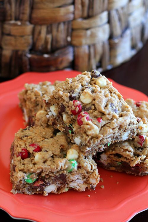Monster Cookie Bars With Almond Butter - Joyful Mommas Kitchen