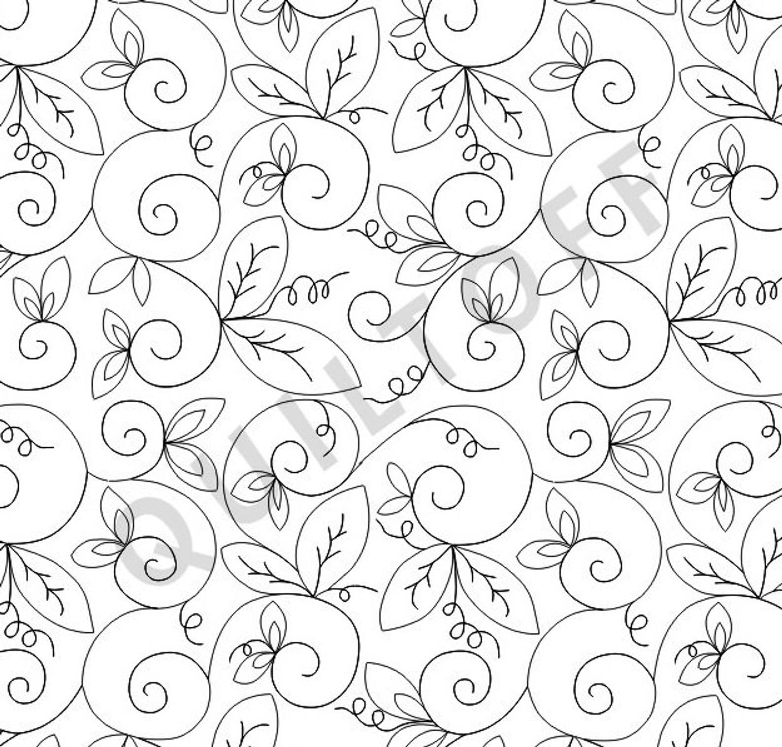Sweet Pea Digital quilting pattern, design, pantograph in