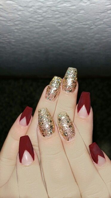 Matte Red And Gold Coffin Nails Cute Nails
