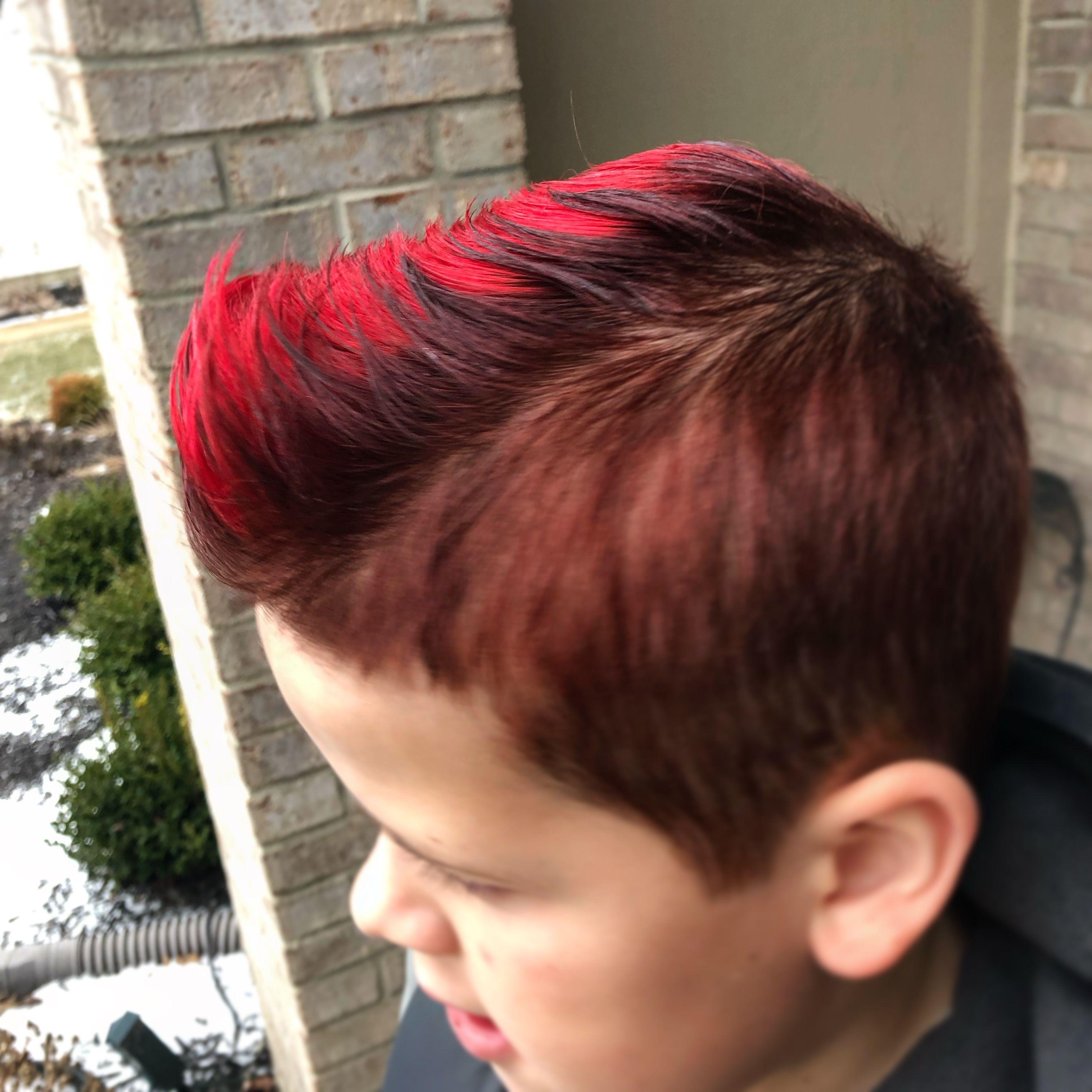 Little Boy Hair Fun Pompadour With Logics 4r And Pravana Vivid Red On The Top Little Boy Hairstyles Kids Hairstyles Boy Hairstyles