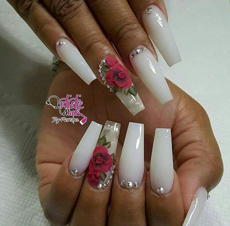 Ballerina Nails. White Nails. 3D Nail Art. Acrylic Nails. Nails With ...