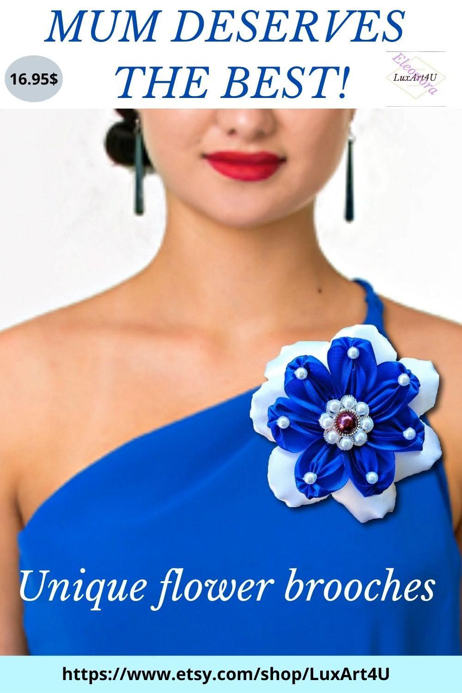 Easter Gift For Women Idea Birthday Gift For Girlfriend Austrian Edelweiss Shawl Pin Kanzashi Flower Pin Flower Scarf Pin