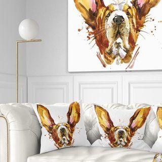 Designart 'Funny Brown Dog Basset' Animal Throw Pillow (Square - 18 in. x 18 in. - Medium), DESIGN ART(Polyester)