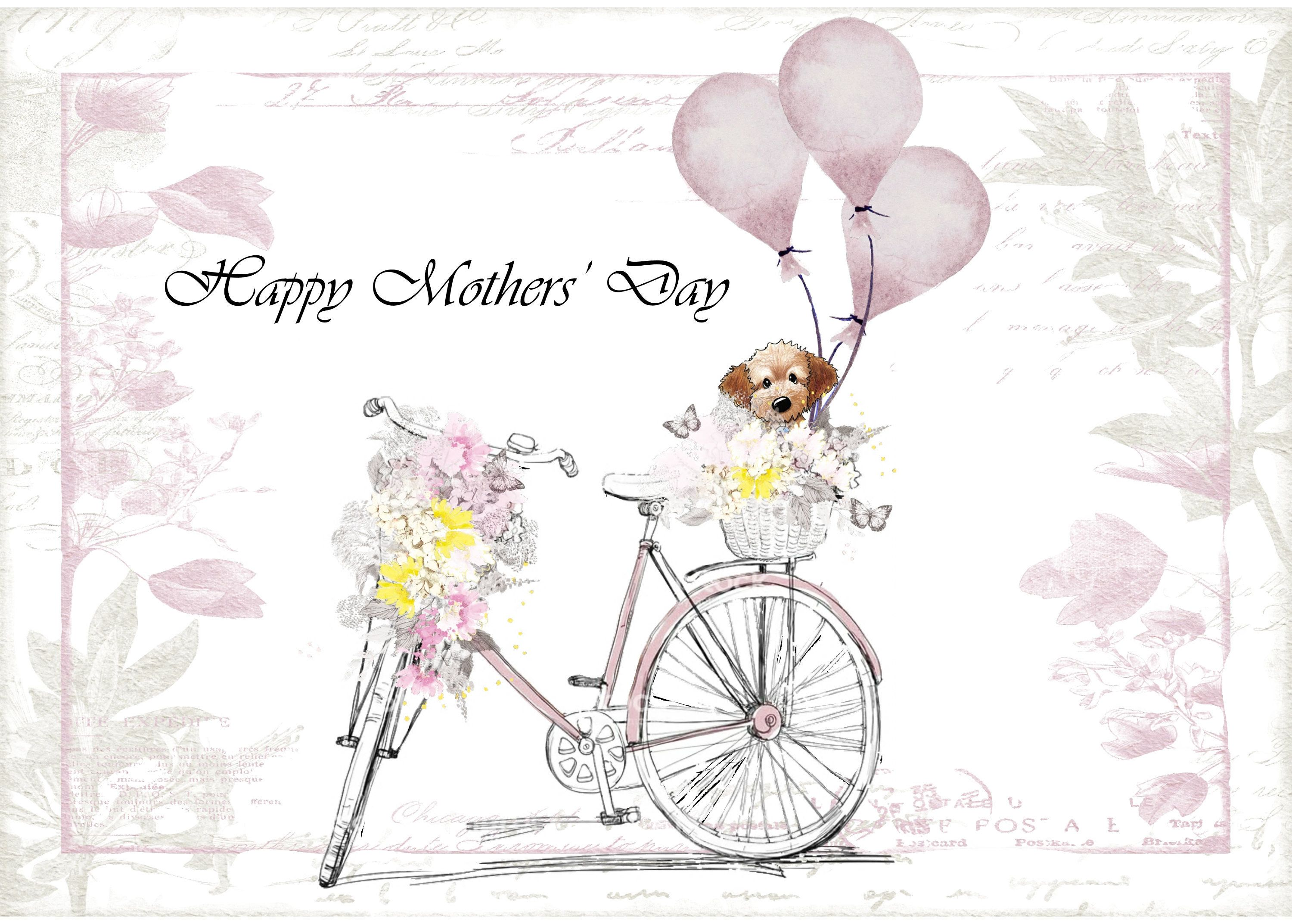 mothers day floral bicycle with dog in basket card mothers day mother s day mum mummy cute by scopertacreations on etsy [ 3000 x 2146 Pixel ]