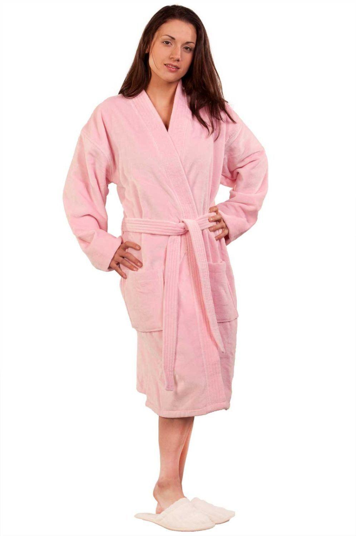 f3be1bf51a 100% Turkish Cotton Adult Terry Velour Kimono Robe - Pink - Adult - Small  Medium
