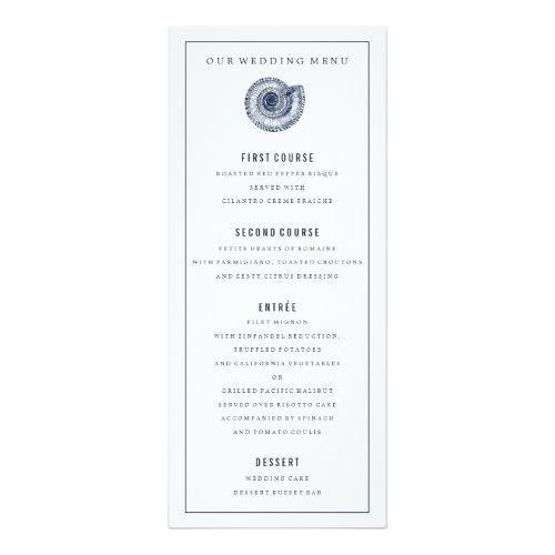 Navy Sea Shell Wedding Dinner Menu Card  Wedding Dinner Menu