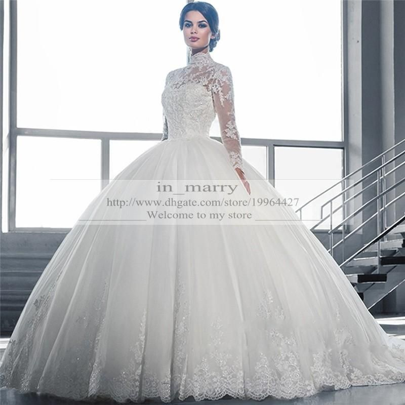 Victorian Arabic Long Sleeves Ball Gown Wedding Dresses Princess Style 2015 P