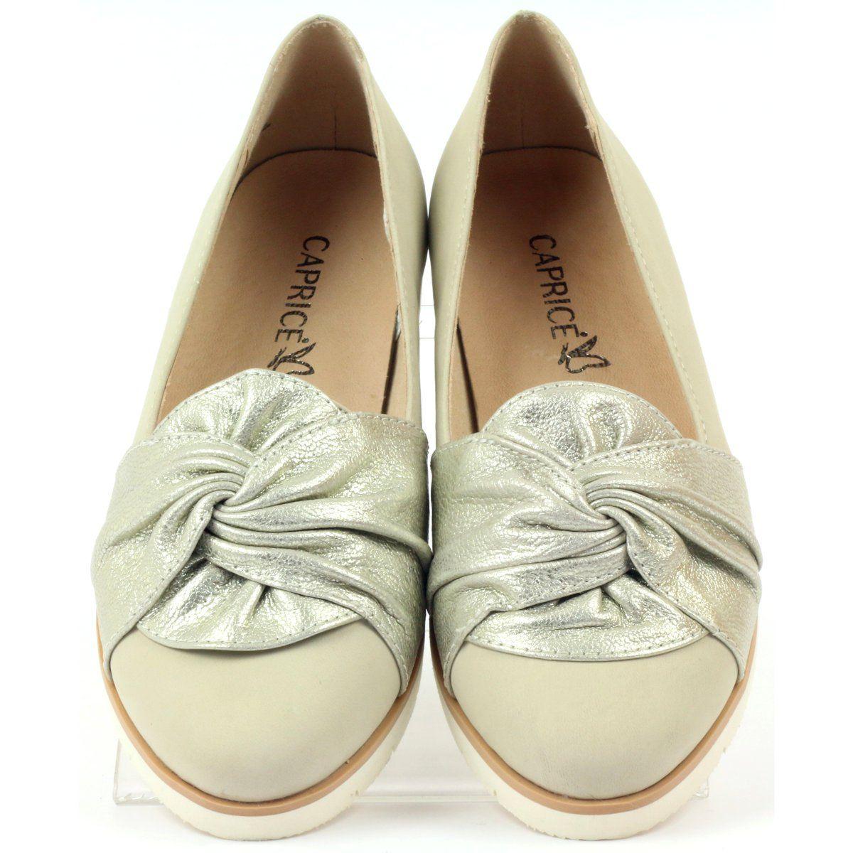 Caprice Czolenka Polbuty Buty Damskie 24607 Bezowy Zloty Women Shoes Shoes Pump Shoes