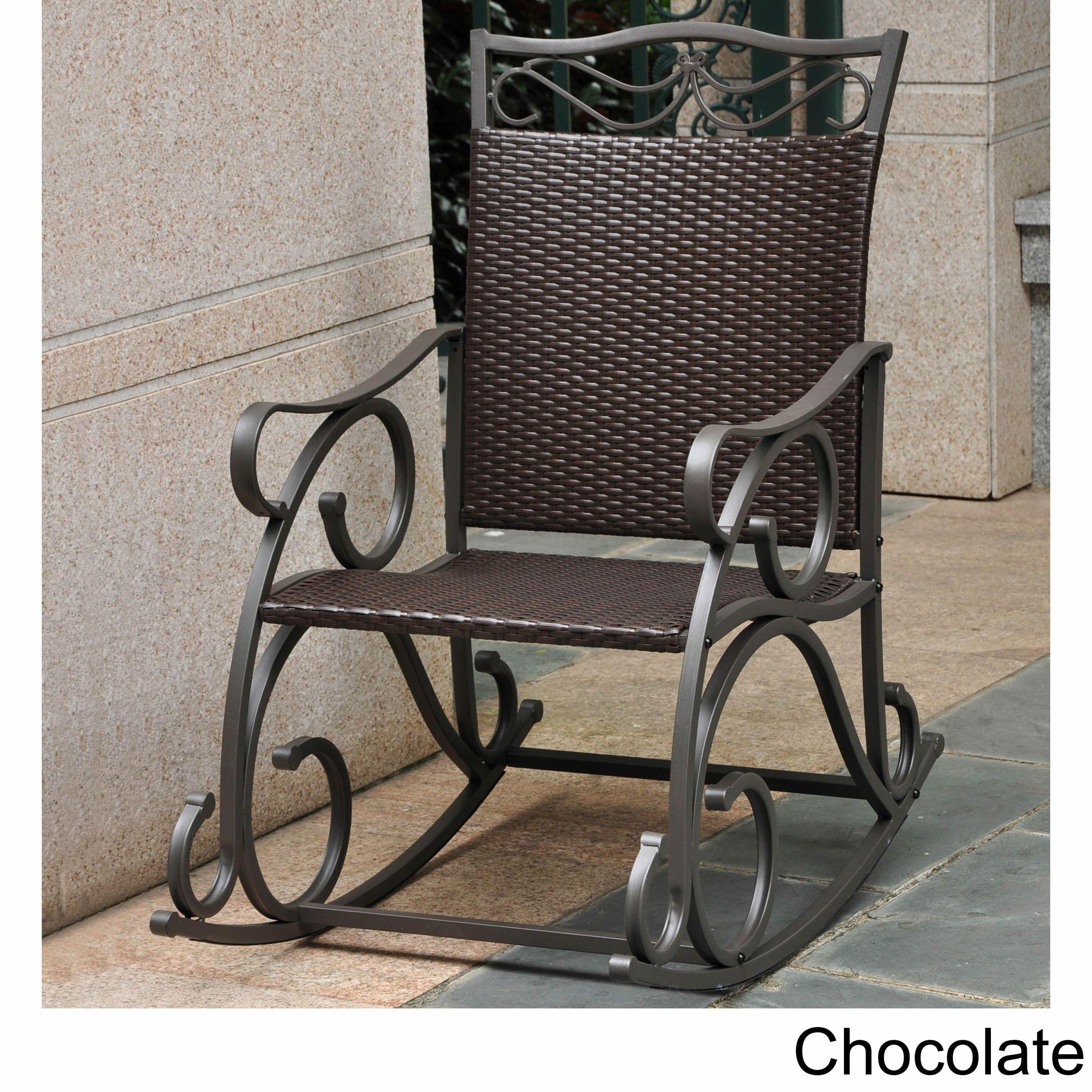 International Caravan Valencia Resin Wicker/ Steel Frame Rocking Chair  (Chocolate), Brown,