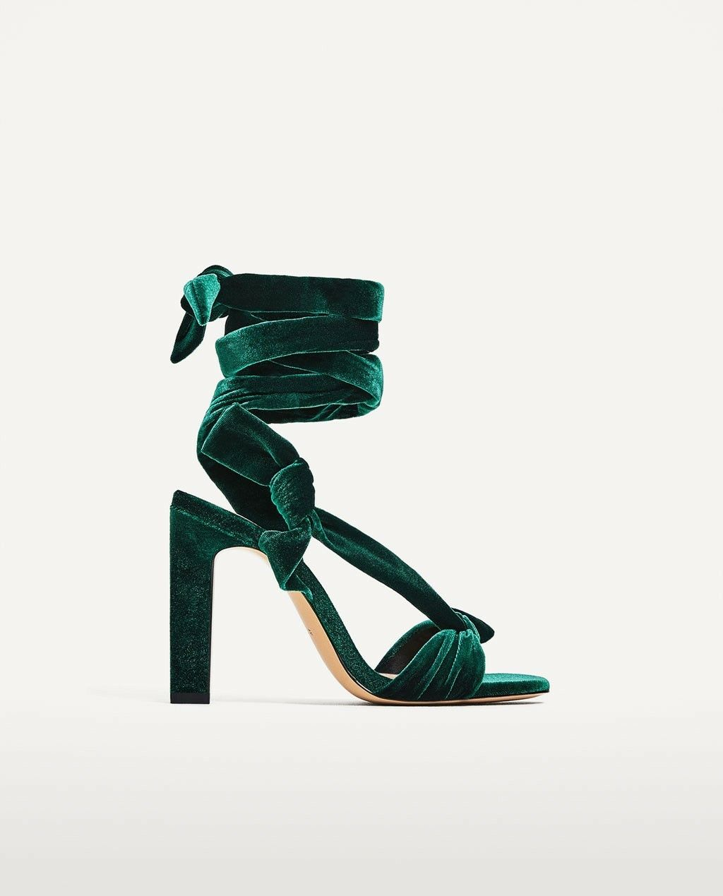 e1aeea11be214 Zara - Velvet Lace-Up High Heel Sandals in Emerald Green ...