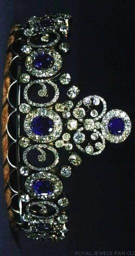 Grand-Duchess Anastasia's Sapphire Necklace Tiara, The first thing to know is that this sapphire and diamond tiara was originally a necklace, which story started in 1879, when grand-duchess Anastasia Mikhailovna of Russia married grand-duke Friedrich Franz III of Mecklenburg-Schwerin. The necklace came into the Danish royal family when it was left to her elder daughter, Queen Alexandrine, spouse of King Christian X of Denmark.: