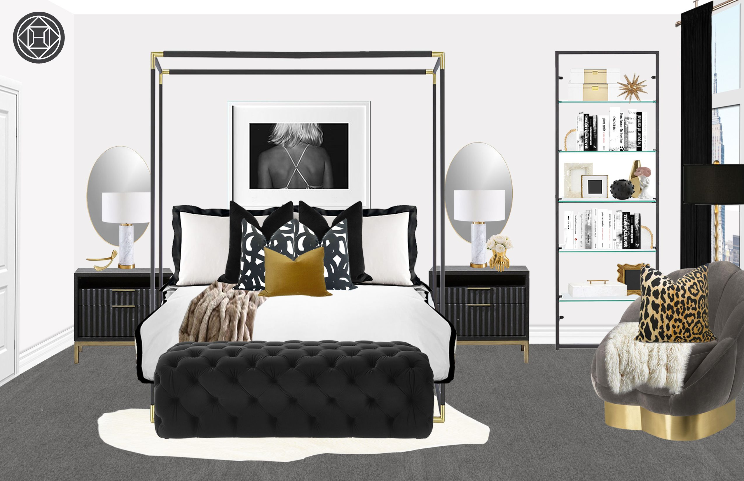 Contemporary Glam Bedroom Design By Havenly Interior Designer