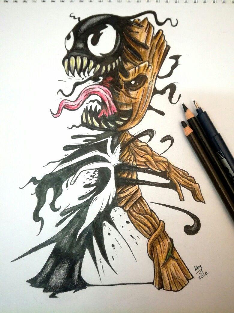Venom Groot Tattoo Design Tinta Y Crayon Groot Tattoo Venom Tattoo Hero Tattoo