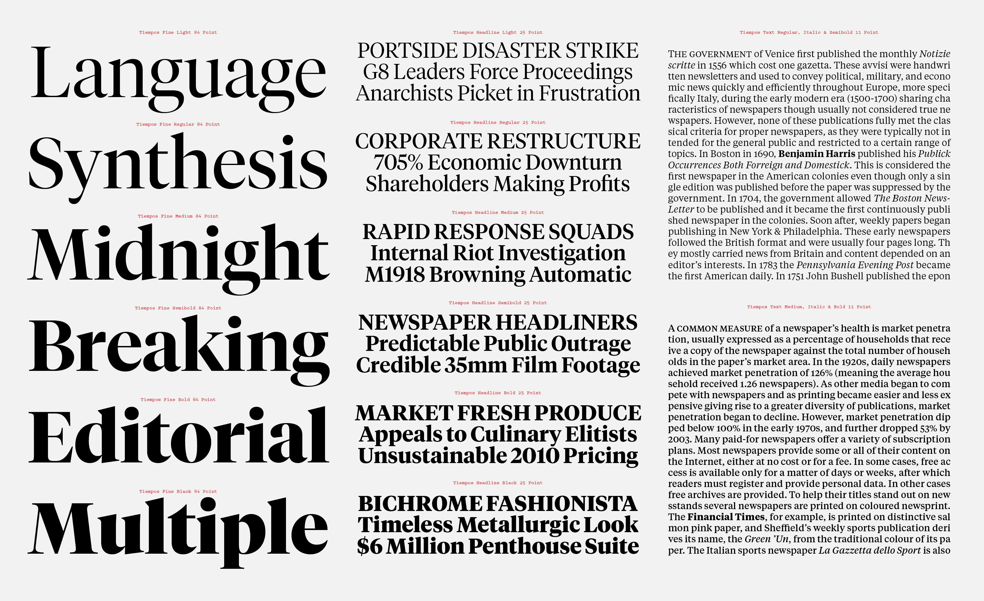 Village New Type Tiempos Fine Typographic Principles Typeface Typeface Design