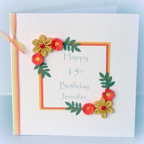 How to make handmade cards for special occasions google search quilled birthday card handmade paper quilling a beautiful quilled card with quilling flowers in vibrant shades of tangerine and lemon for a very special m4hsunfo Gallery