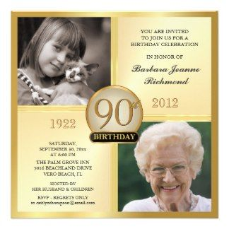 90th birthday party invitation templates gold 90th birthday