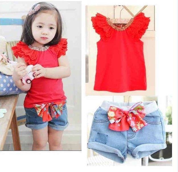 Aliexpress.com : Buy Baby girl suit/Two piece baby suit:red ...