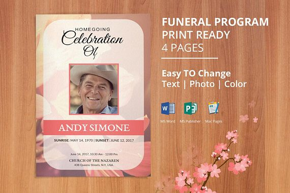 Funeral Program Template Obituary Program Template Memorial