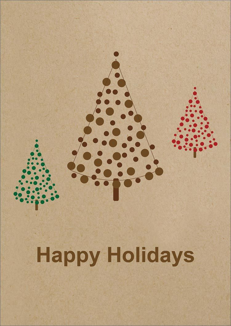 Happy Holiday Simple Trees Greeting Cards Xmas Diy Holiday Cards Watercolor Christmas Cards